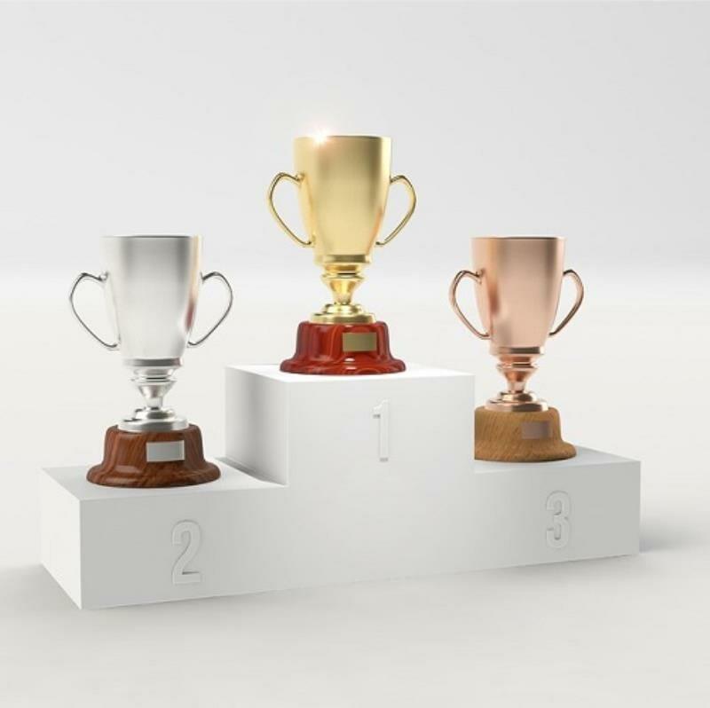 Trophies on pedestals