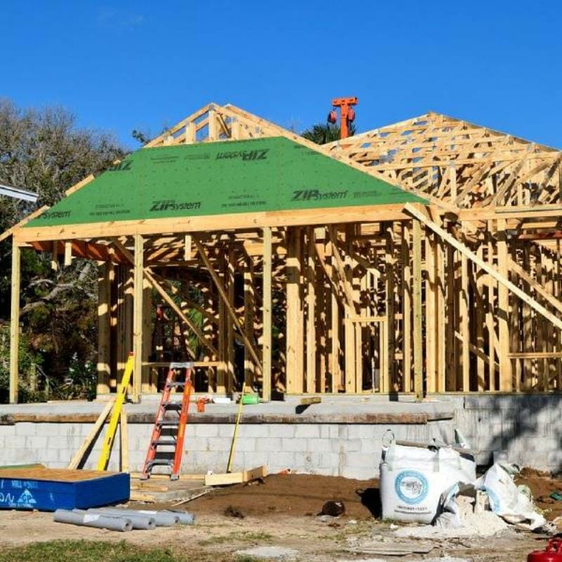 A house frame being constructed