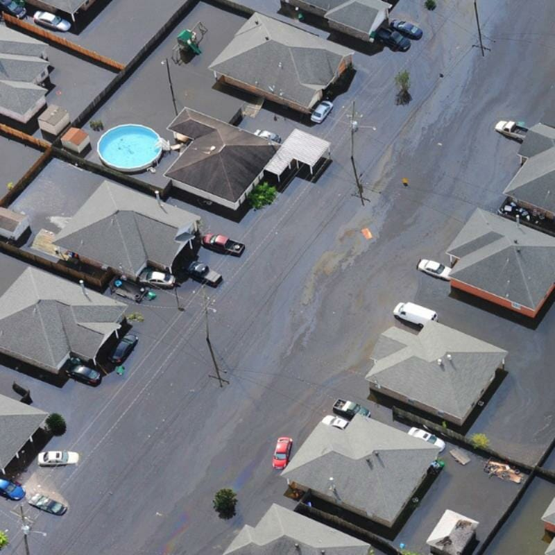 Arial view of a flooded residential neighbourhood