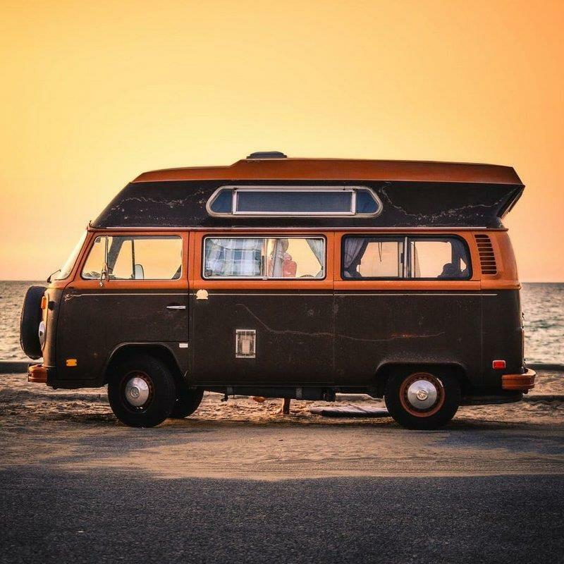 A caravan on the beach